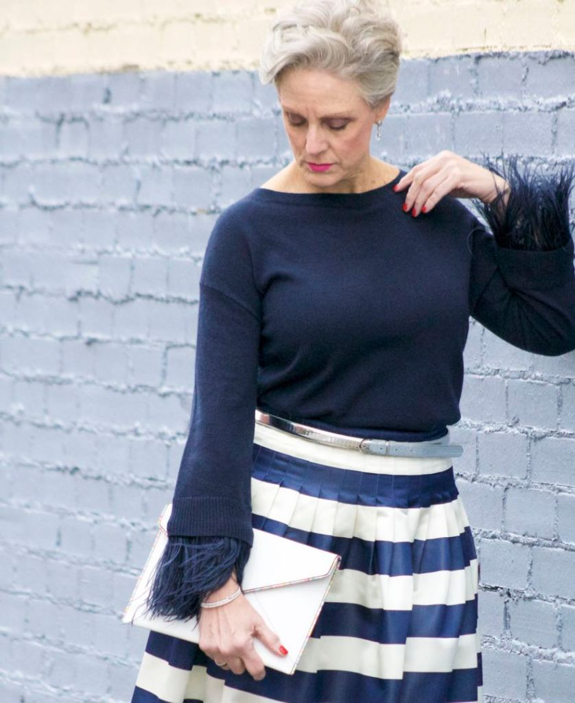 j.crew feather sleeve crewneck sweater, j.crew pleated satin stripe skirt, nine west suede pumps, rebecca minkoff leo envelope clutch