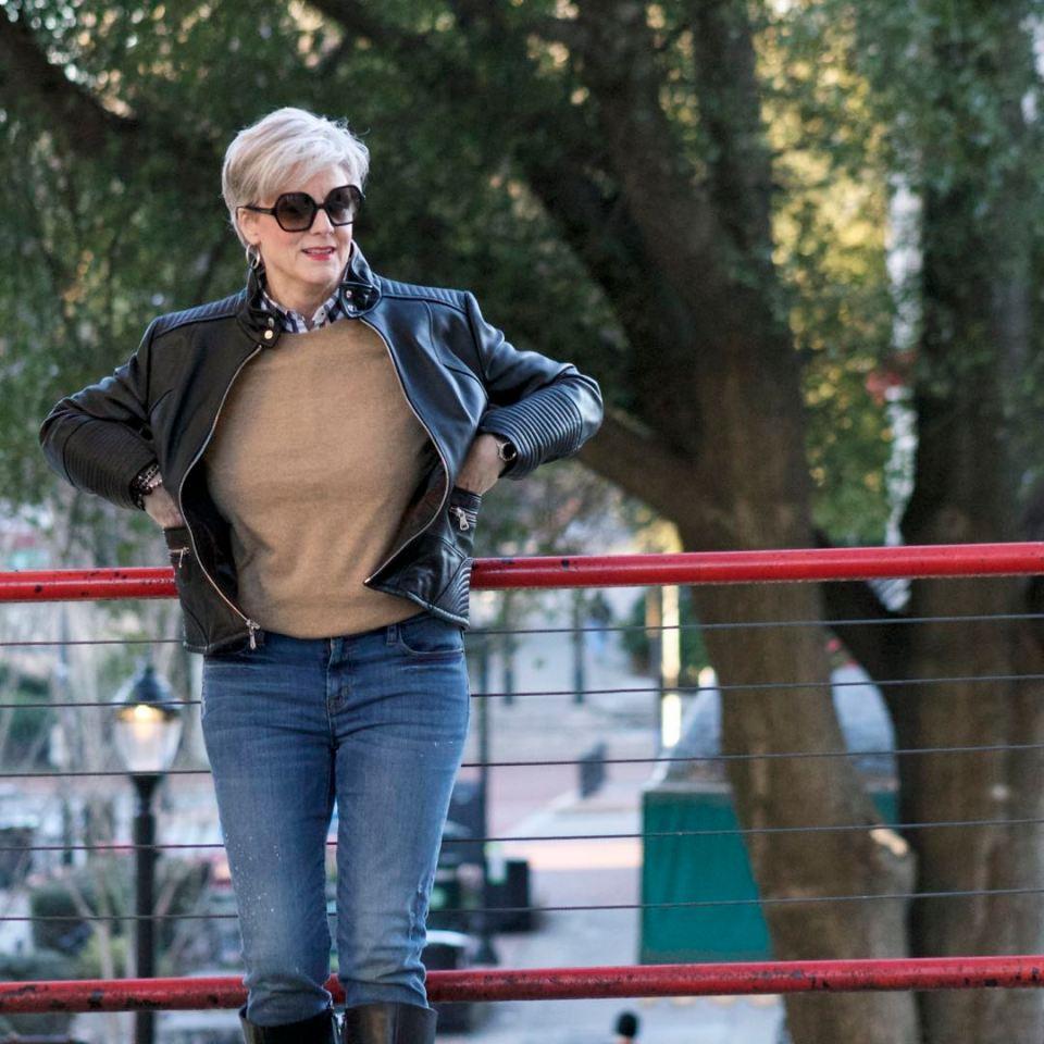 vince camuto leather moto jacket, everlane cashmere sweater, j.crew skinny toothpick, talbots riding boots, michael kors handbag