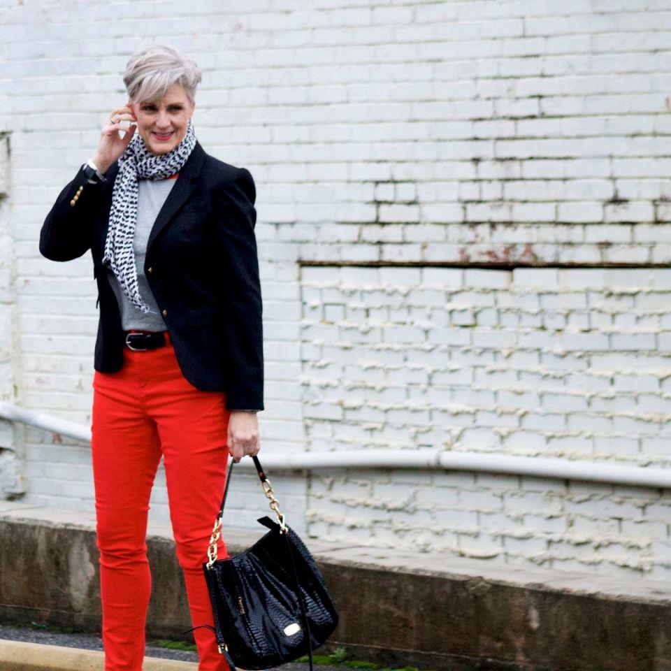 boden red jeans, j.crew black blazer, boden allie tee, michael kors handbag