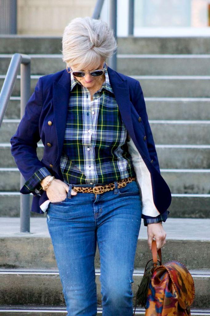 j.crew skinny jeans, j.crew plaid shirt, banana republic navy blazer, banana republic suede booties, patricia nash backpack