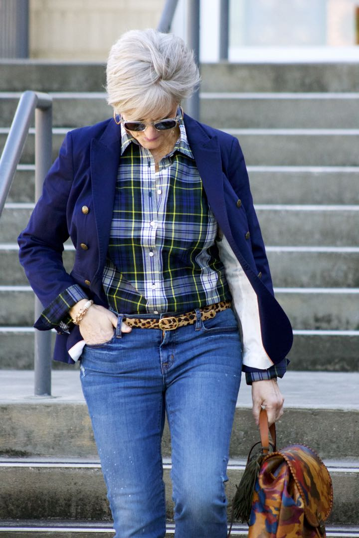 j.crew skinny jeans, j.crew plaid shirt, banana republic navy blazer, banana republic suede booties, patricia nash backpack