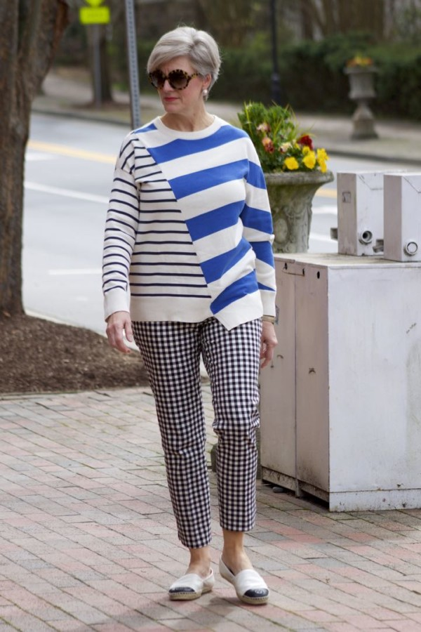 lou & grey striped sweater, talbots gingham pants, tory burch leather espadrilles