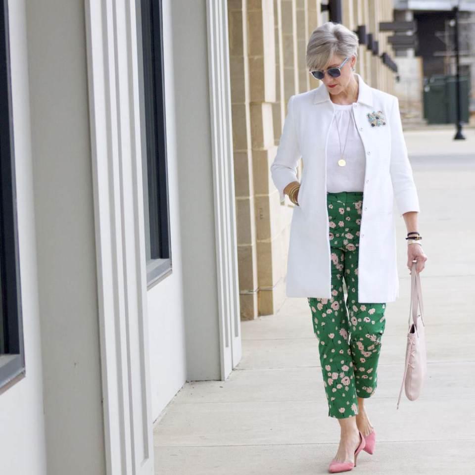 boden white jacket, boden linen shirt, boden green print pants, j.crew pink suede shoes