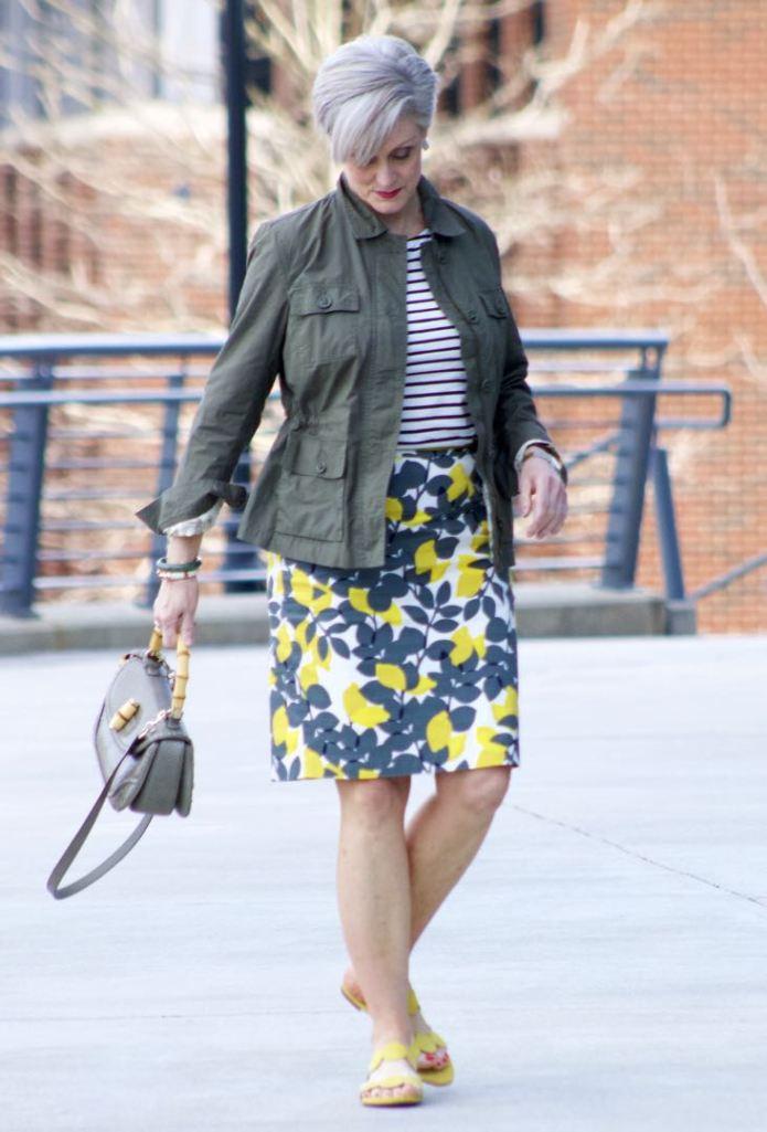 boden pencil skirt, boden breton tee, talbots utility jacket, gucci bamboo handle handbag, boden yellow suede sandals