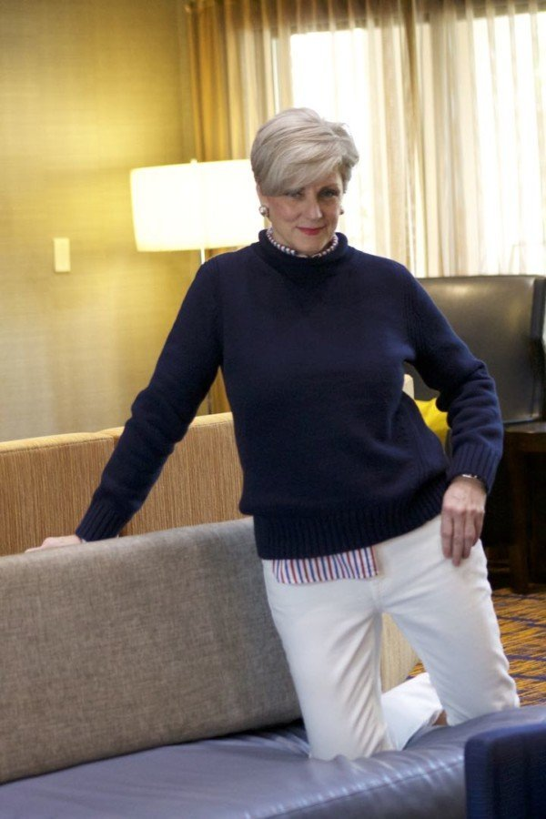 j.crew roll neck sweater, j.crew striped shirt, everlane denim, tory burch espadrilles