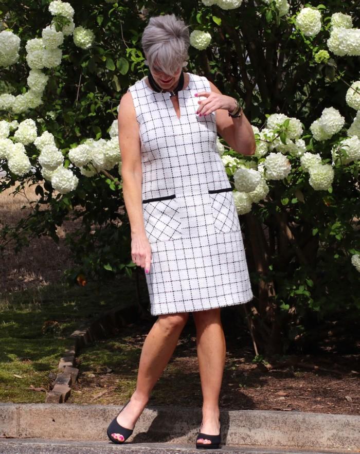 karl lagerfeld dress, adrian allen shoes, j.crew cashmere cardigan