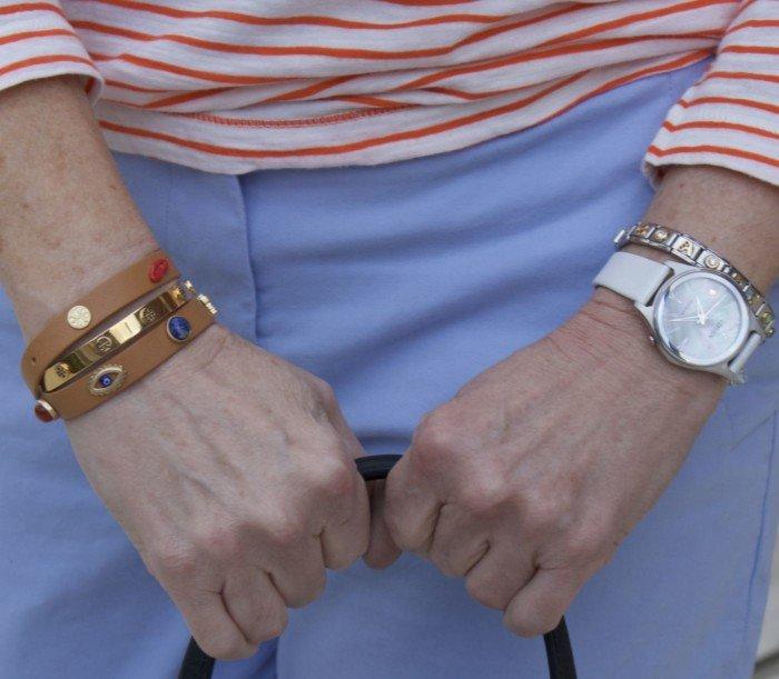 boden chinos, j.crew striped tee, white sweater, white keds, tory burch bracelets, straw handbag