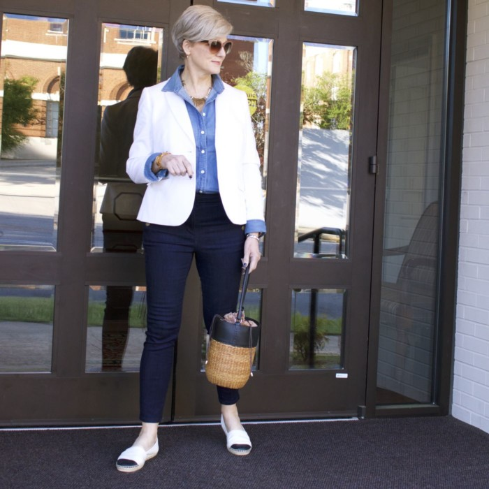 over 50 fashion blogger, ann taylor sailor denim, j.crew denim shirt, talbots white pique blazer, tory burch espadrilles, wicker bucket bag