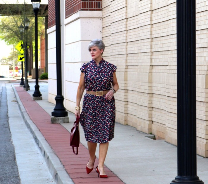 ralph lauren top, ralph lauren skirt, zara red pumps, talbots satchel handbag, anthropologie necklace
