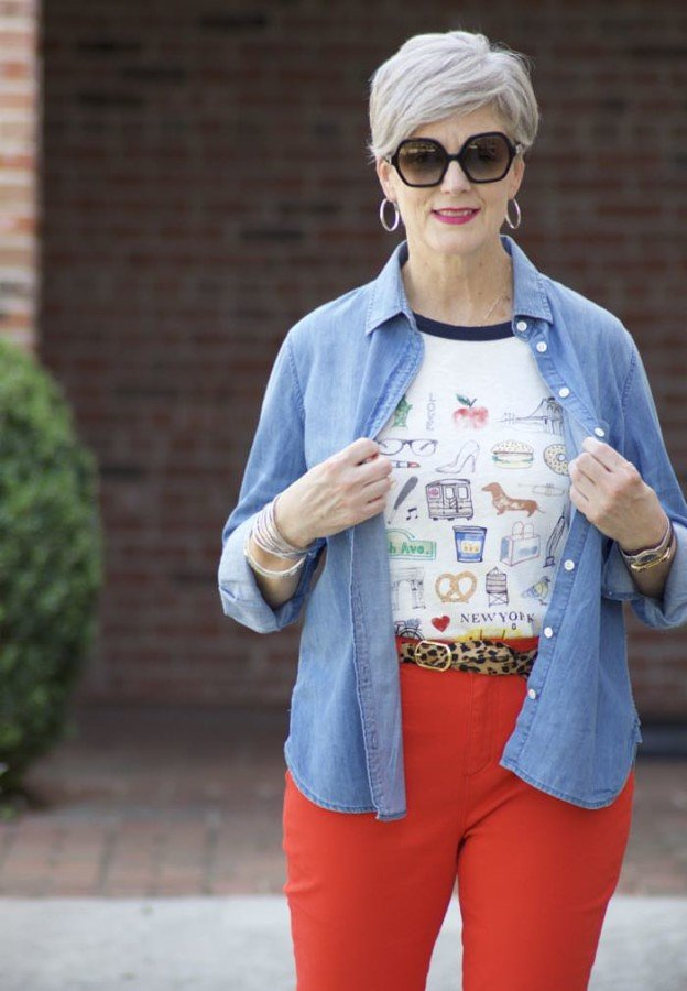 leapin' leopard, red denim, beth djalali, style at a certain age