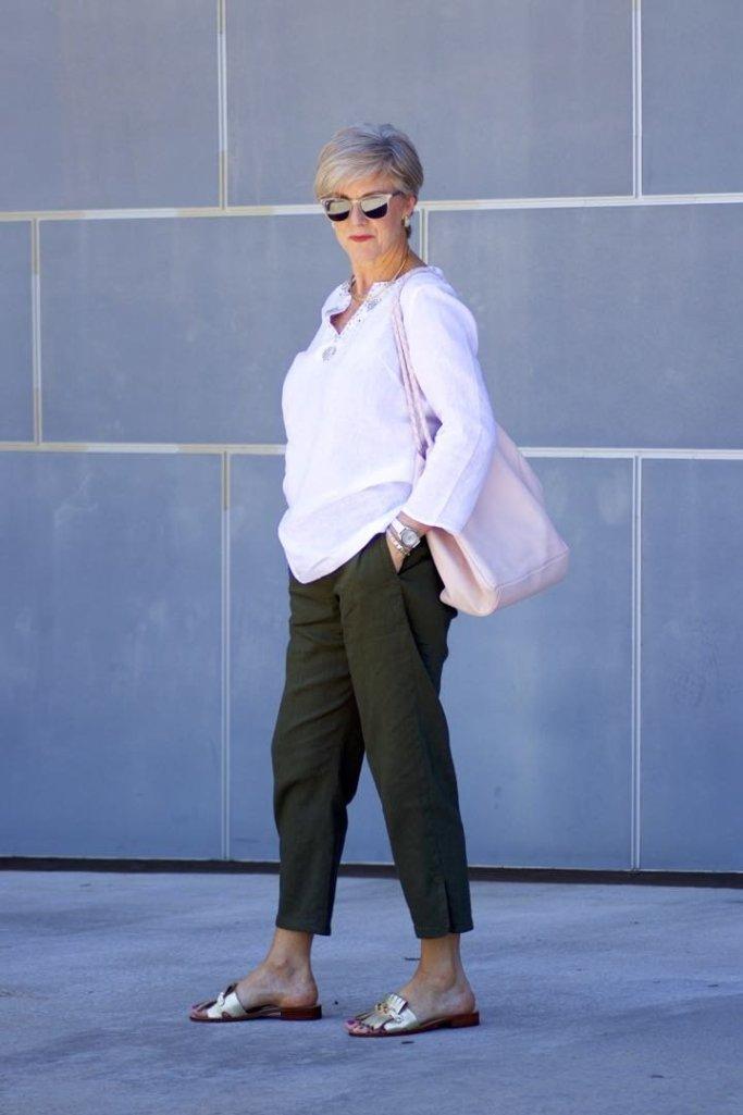talbots linen tunic, theory linen pants, kate spade sandals, hanner clarke handbag
