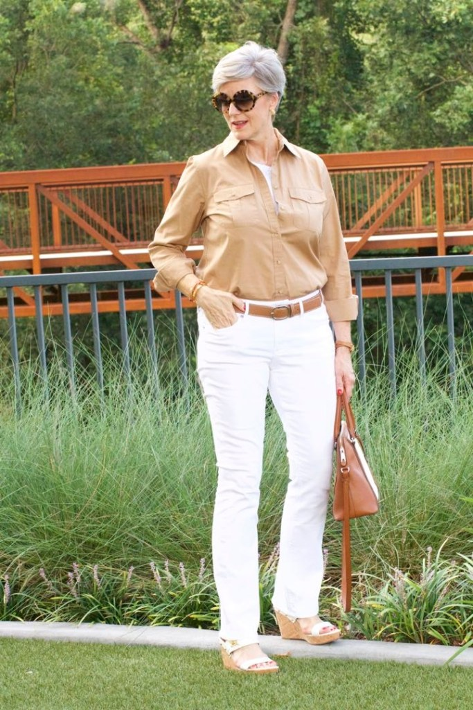 express white denim, j.crew utility shirt