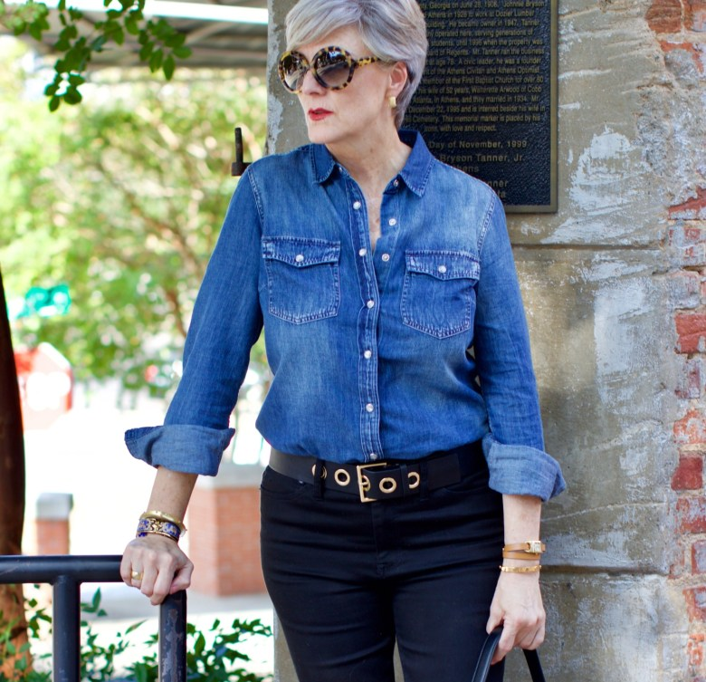 denim shirt, cropped black denim, leopard flats