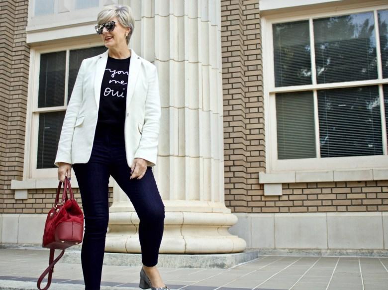 blazer, sweater, blue jeans