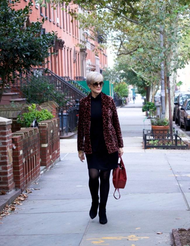 little black dress, leopard blazer, black booties