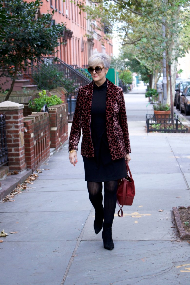 little black dress, leopard blazer, black booties