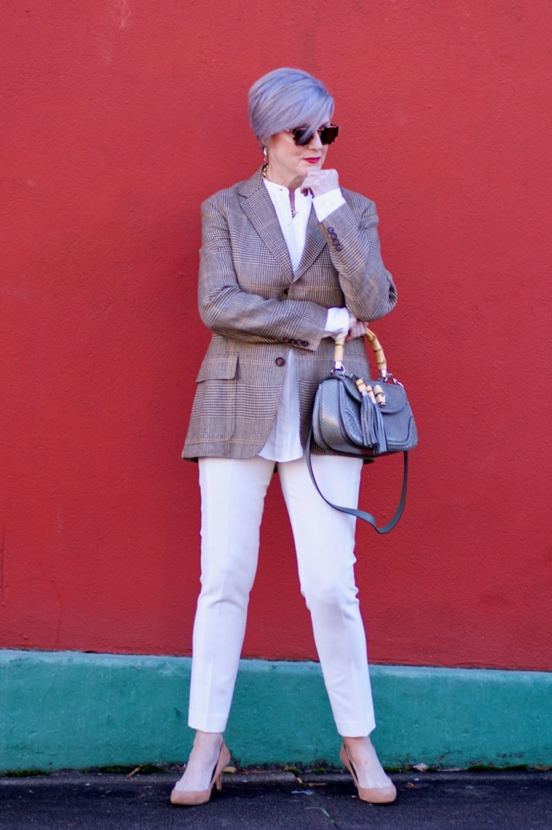 beth from Style at a Certain Age wears a Ralph Lauren blazer, Helmut Lang winter white blouse, J. crew Maddie pant, Ann Taylor suede pumps, and Gucci handbag