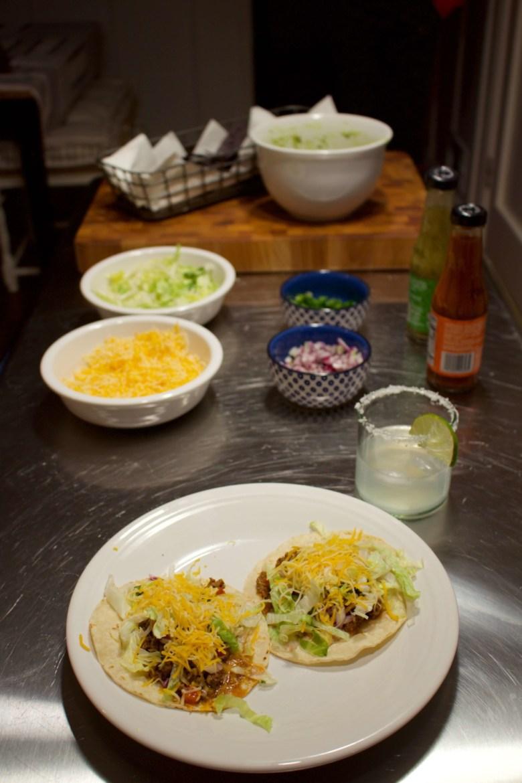 beef tacos, classic margarita, and guacamole