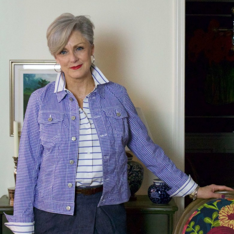 beth from Style at a Certain Age wears a gingham jean jacket