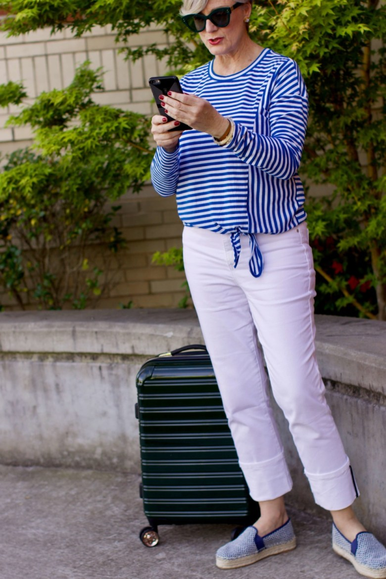 beth from Style at a Certain Age wears white denim, blue and white striped tee, platform espadrilles