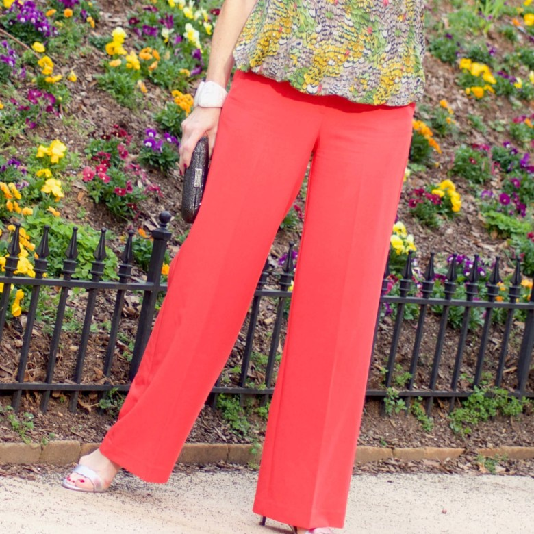 beth from Style at a Certain Age wears wide leg pants from JC Penney, and a sleeveless blouse