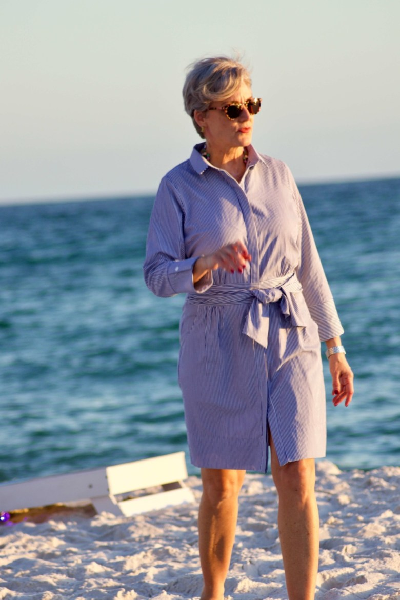 beth from Style at a Certain Age wears a Gretchen Scott shirtdress while visiting Panama City Beach