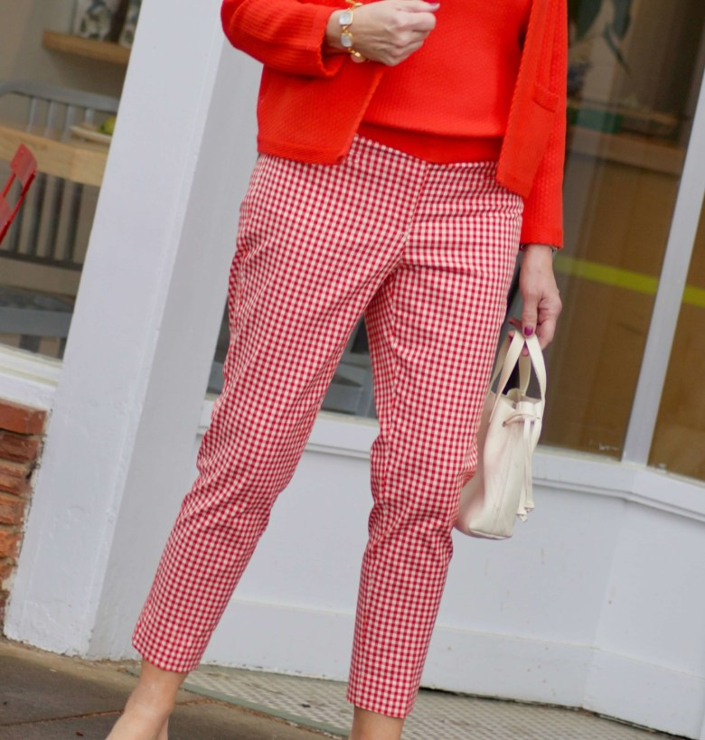 beth from Style at a Certain Age wears cropped gingham pants