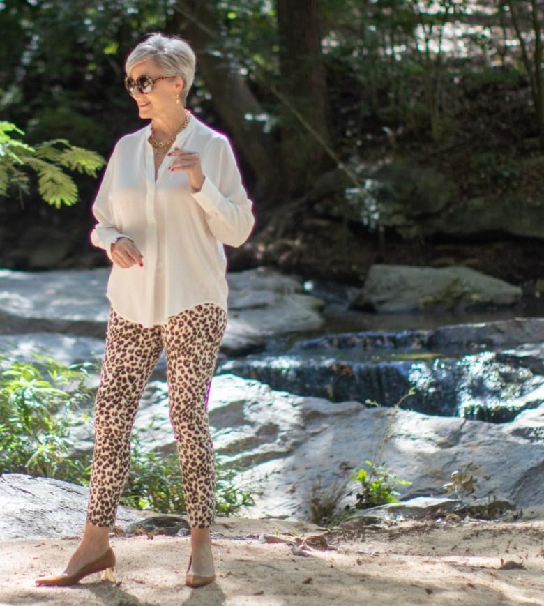 leopard jeans, silk blouse, white blazer