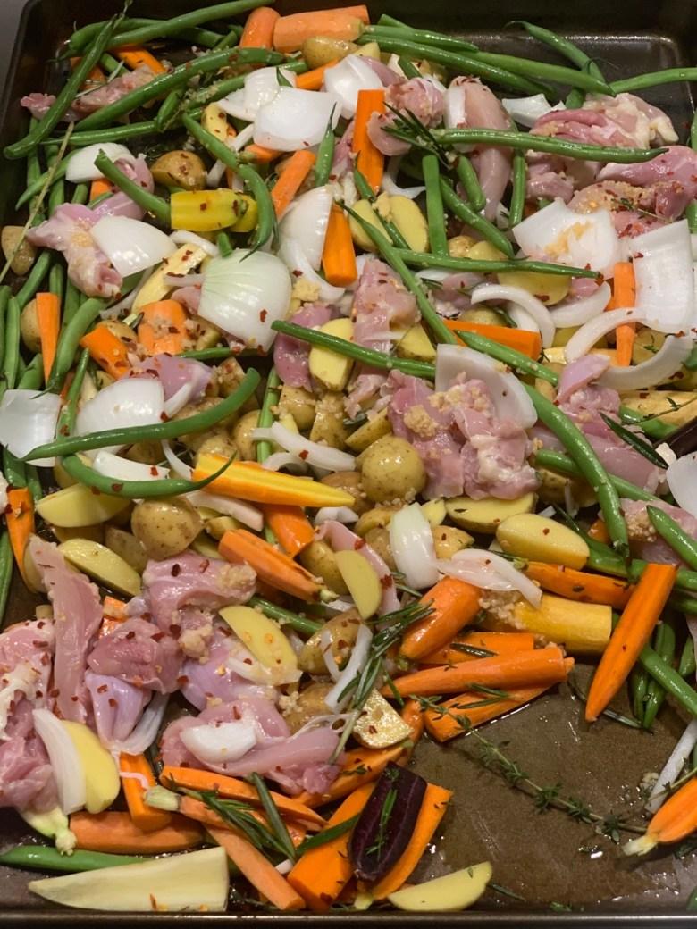 one pan roasted chicken & veggies