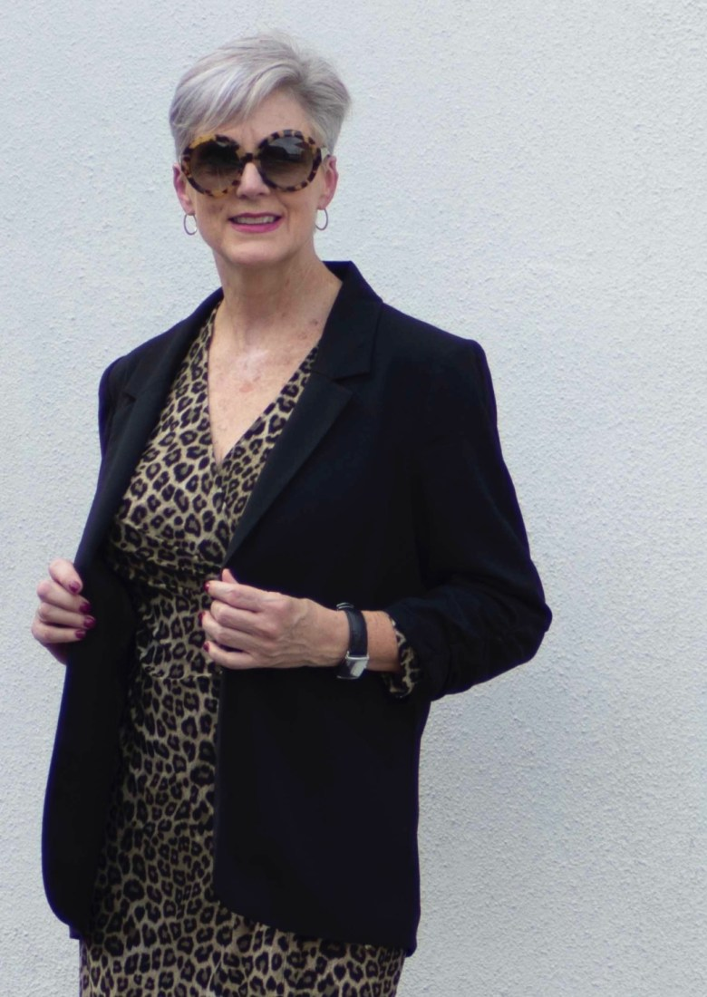 leopard dress & black blazer
