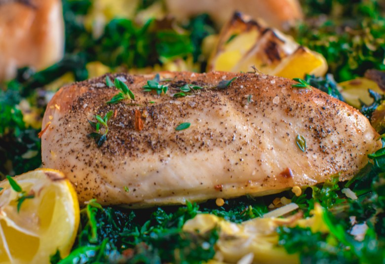 chicken and kale one pan sheet dinner