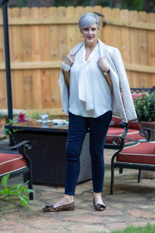 ann taylor bow blouse, sailor jeans, leopard flats