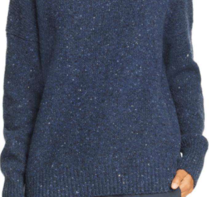 Funnel Neck Wool Blend Sweater