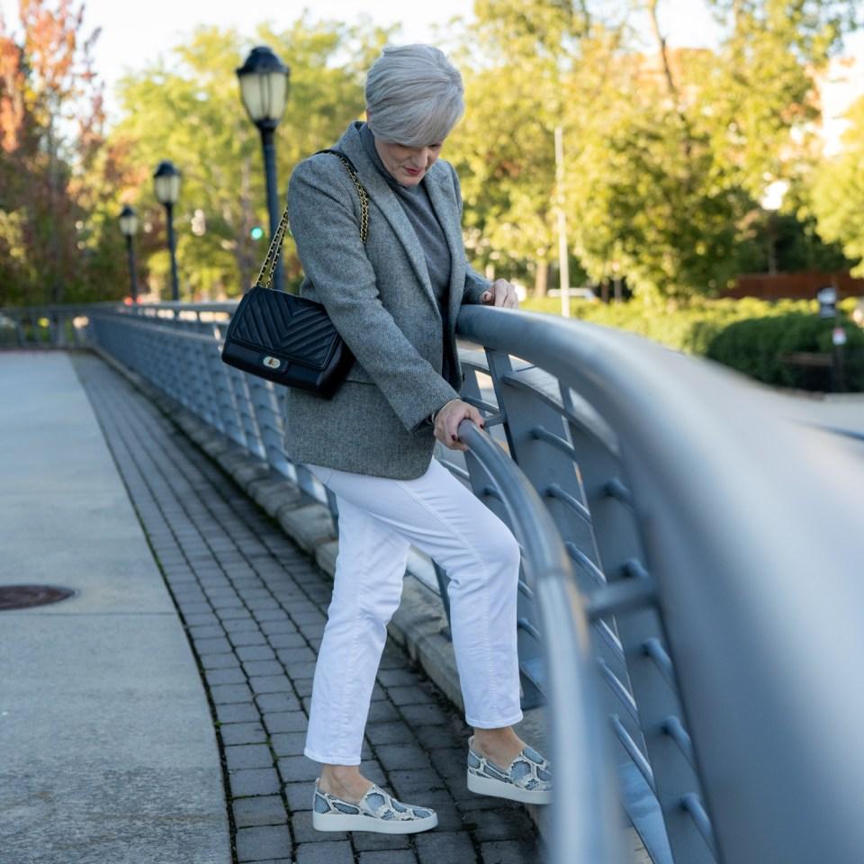 fall neutrals gray herringbone blazer
