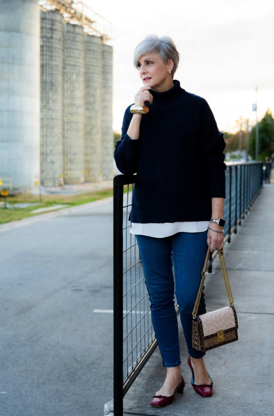turtlenecks and blue jeans