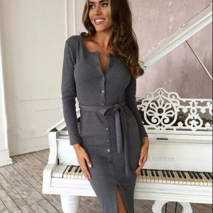 New Autumn Winter Dress Women Slim Long Sleeve Buttons Casual Bodycon Cocktail Knee-Length Dress