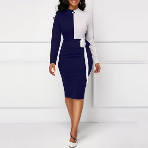 Elegant Vintage Color Block Belt Tunic Plus Size Bodycon Autumn Winter Women Long Sleeve Dress