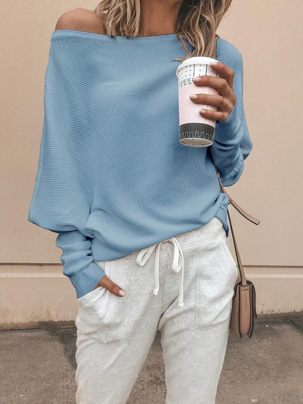 Women Loose Casual Autumn Long Sleeve Slash Neck Knitted Pullover Sweater