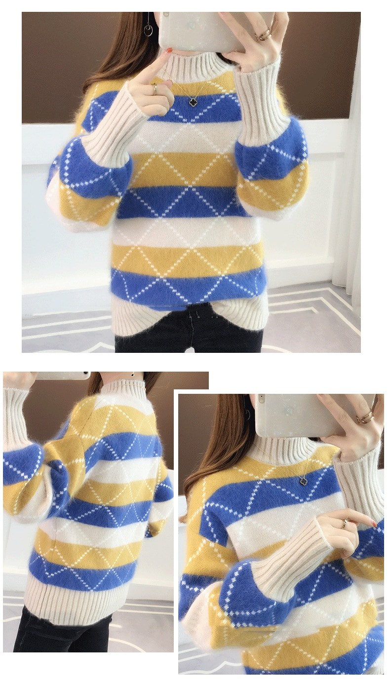 Women Office Lady Turtleneck Sweaters Lantern Sleeve Striped Sweaters Bottoming Warm Sweater