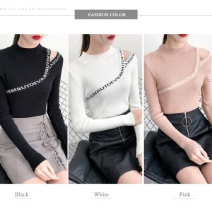 Korean Style Soft Knit Long Sleeve Pullover Women Basic Sweaters