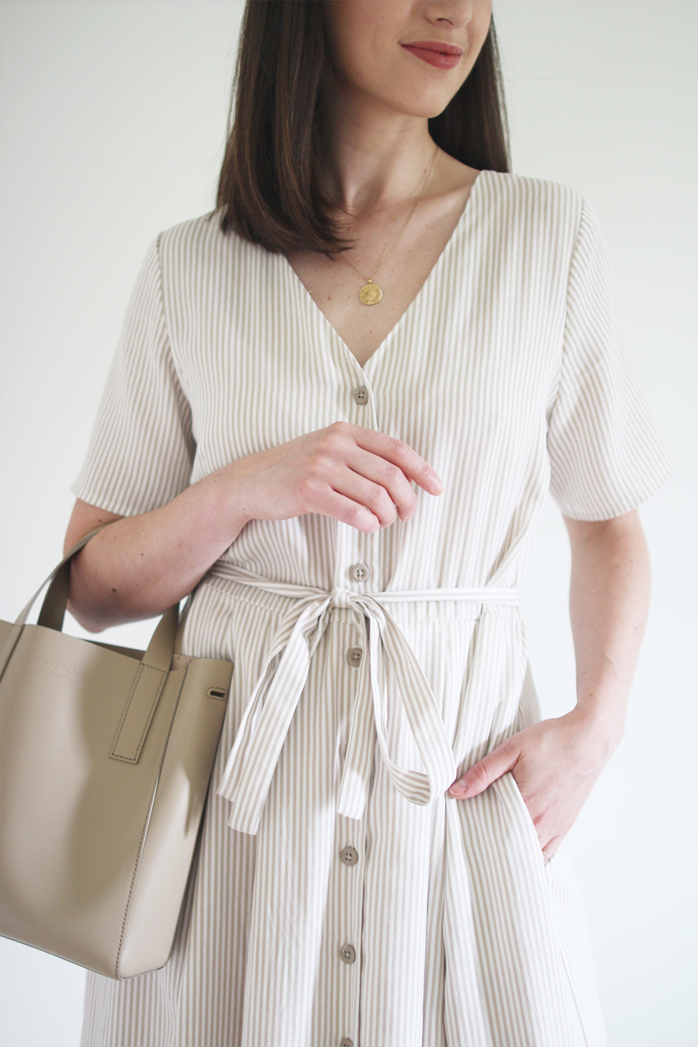 Style Bee - Summer Stripes - For Weekend - Striped Midi Button Dress + Nude Sandals + Taupe Mini Tote + Coin Necklace