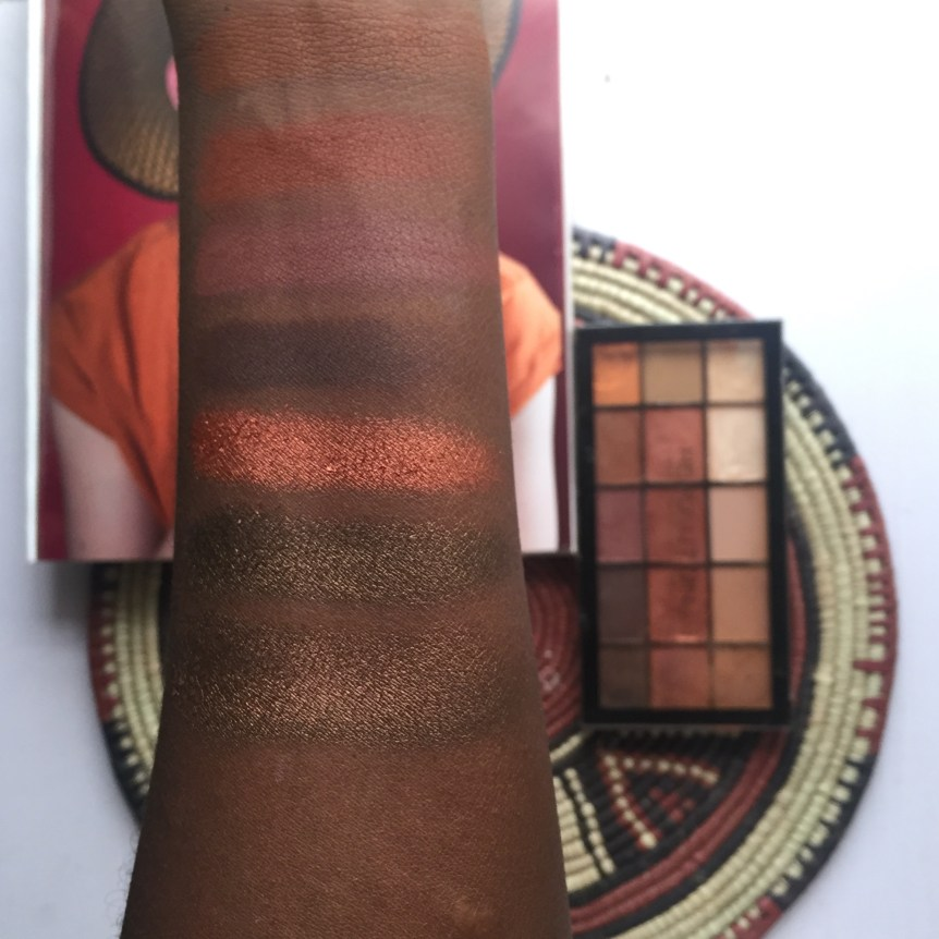 Swatches of the Makeup Revolution Iconic Fever palette.