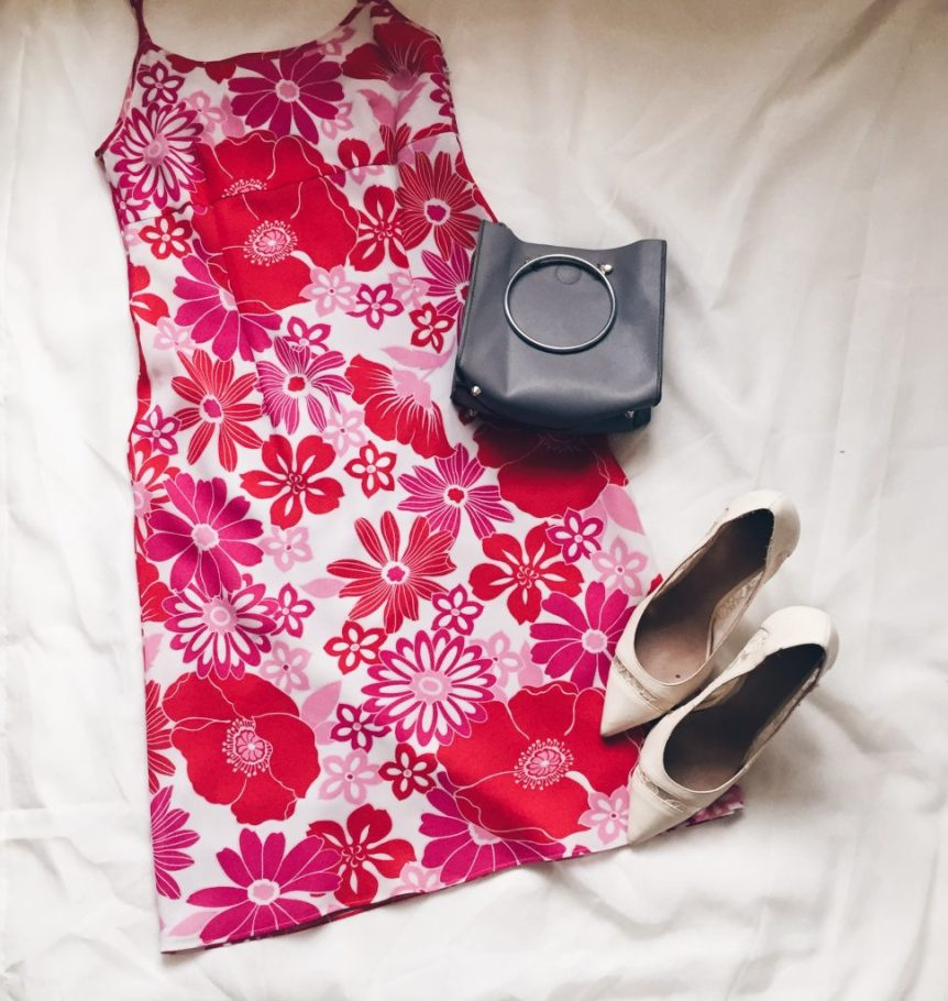 Pink and red floral print dress