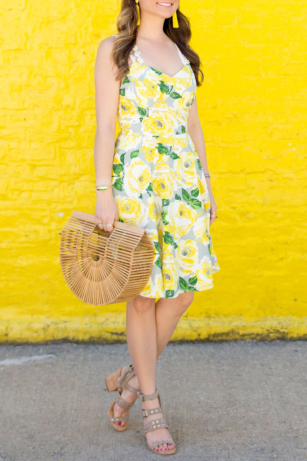 Yellow Daisy Fit Flare Dress