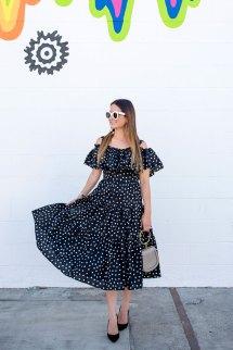 Black And White Polka Dot Midi Dress Los Angeles Ca