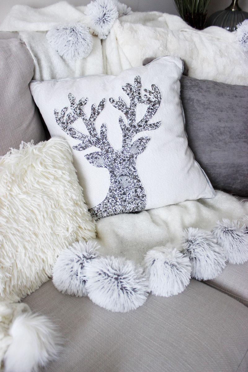 pier 1 beaded reindeer throw pillow