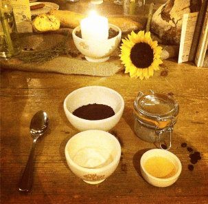 Our coffee mask ingredients before mixing at Le Pain Quotidien