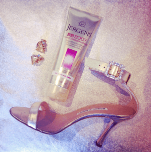 Completing our holiday look with Jergens BB Body!