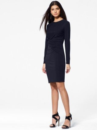 We love this easy-wearing ruched little black dress!