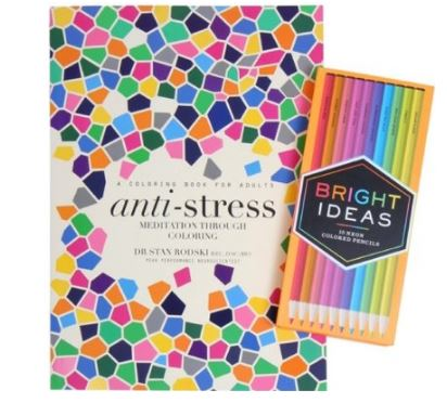 Anti-Stress: Meditation Through Coloring and Bright Ideas Neon Colored Pencils, $28.99